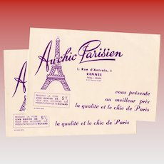 Eiffel Tower Au Chic Parisian Advertisement for French Store Vintage Ink Blotter Pad