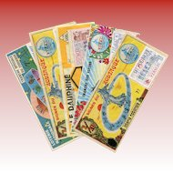 5 French National Lottery Tickets with Stamps from the 1970s: Zodiac Astrology Signs