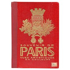 Red and Gold Embossed Vintage Accordion-Style Paris Souvenir Photo Book