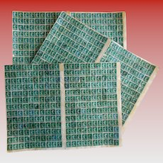 Antique French Green 5 Centimes Stamp Collage Sheets