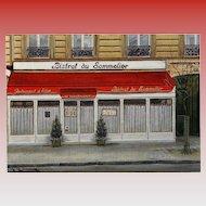 Bistrot du Sommelier Paris Restaurant by French Painter André Renoux Unused Vintage Postcard