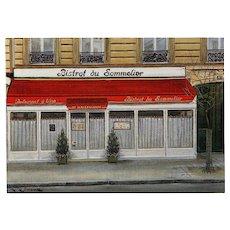Bistrot du Sommelier Paris Restaurant by French Painter André Renoux Unused Vintage Postcard - Red Tag Sale Item