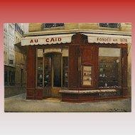 Paris Tobacco Shop Au Caïd by French Painter André Renoux Unused Artist Signed Vintage Postcard