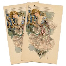French Art Nouveau Lithographic Phoscao Advertising Postcard Musical Series: Lady with Jingle Bells