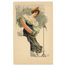 French Art Nouveau Lithographic Phoscao Advertising Postcard Musical Series: Accordion Player and Parrot