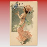 French Art Nouveau Lithographic Phoscao Advertising Postcard Musical Series: Lady and Monkey Bell Ringer