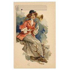 French Lithographic Phoscao Advertising Postcard Musical Series: Horn Player with Deer