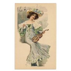 French Art Nouveau Lithographic Phoscao Advertising Postcard Musical Series: Cellist in Blue