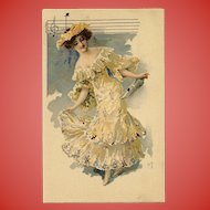 French Art Nouveau Lithographic Phoscao Advertising Postcard Musical Series: Lady with Whistle