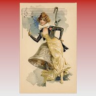 French Art Nouveau Lithographic Phoscao Advertising Postcard Musical Series: Lady Sitting on Huge Bell
