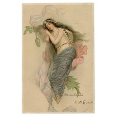 Sleeping Fairy Rare Hold to Light Art Nouveau French Postcard