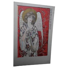 Serenade Angel by Polish Artist Kieszkow European Art Nouveau Gilded Postcard