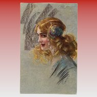 Blonde Belle Epoque Beauty with Exotic Hair Decorations Artist Signed European Postcard