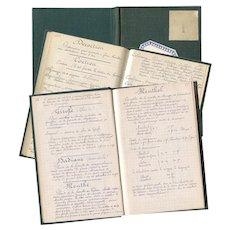 Vintage French Chemist Pharmacist Book Handwritten Calligraphy Perfume Recipes Ingredients