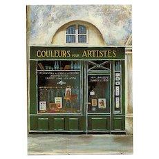 LAST CHANCE: Couleurs pour Artistes Paris Storefront Vintage Postcard by Micheline Danon-Marcho