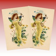 Red Headed Beauty Sunflowers and Birds Antique French Advertising Postcard Unused