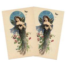 Art Nouveau Bat Lady Antique French Lithographic Advertising Postcard Unused