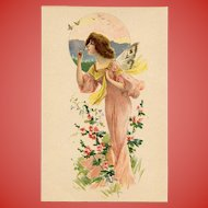 Art Nouveau Butterfly Lady Antique French Lithographic Advertising Postcard Unused