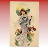 Damsel in Violet Antique French Lithographic Advertising Postcard Unused