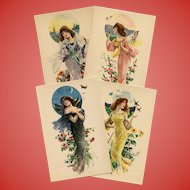 Bats Birds and Butterflies: Antique French Lithographic Advertising Postcard Set of 4 Unused