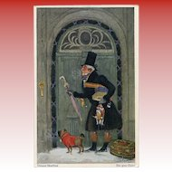 The Good Uncle 18th Century Gentleman with Gifts Toys Dog in Sweater Artist Signed Unused German Postcard