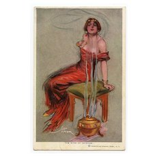 "Lou Mayer Beauty in Red ""Wine of Incense"" Unused American Postcard"