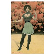 Wicked Heart Lady with Sword Unused Antique European Postcard