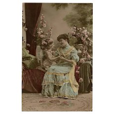Angel Child and Belle Epoque Lady Hand-Detailed 1908 Real Photo French Postcard