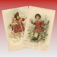 Two Glass Bead and Felt Detailed Antique European Postcards