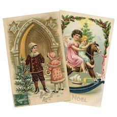 Two Embossed French Christmas Postcards with Rocking Horse and Angels