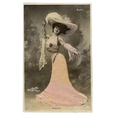 Belle Epoque Actress Real Photo with Fabric Gown Novelty Postcard