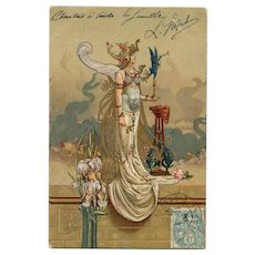 Art Nouveau Lithographic Postcard by Louis Théophile Hingre 1904 Gold Glitter Detailing