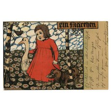 German Fairy Tale Postcard Girl with Goose and Dachshund Artist Signed Franked 1901