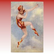 Gayac's Paris Music Hall Dancing Girl in Red-Orange Unused French Postcard c1910