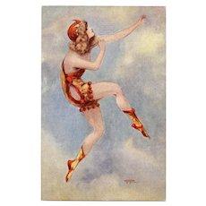 Gayac's Paris Music Hall Dancing Girl in Red-Orange Unused French Postcard c1910