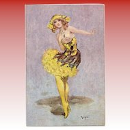 Gayac's Paris Music Hall Dancing Girl in Yellow Unused French Postcard c1910