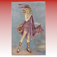 Gayac's Paris Music Hall Dancing Girl in Lavender Unused French Postcard c1910