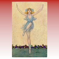 Gayac's Ballerina in Blue Unused Artist Signed French Postcard c1910