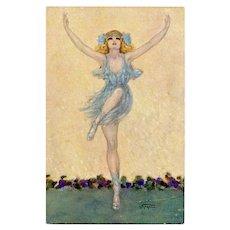 Gayac's Ballerina in Blue Unused Artist Signed French Postcard c1910
