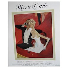 1959 French Magazine Page Monte Carlo Advertisement with Art by Jean-Gabriel Domergue