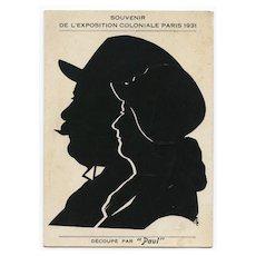 1931 Paris Colonial Exhibition Double Silhouette Souvenir
