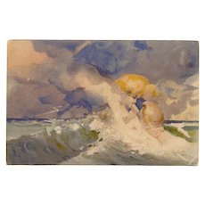 Sky Kissing Ocean Anthropomorphic Illustrated Postcard 1900 Souvenir