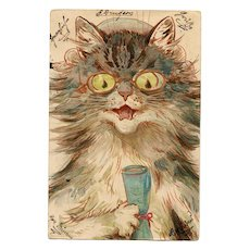 Louis Wain Scholar Cat with Glasses and Diploma Franked 1901 Stroefer Chromolithographic Postcard