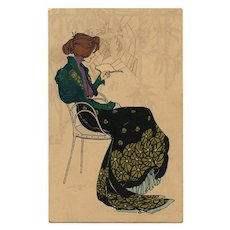 Lady Reading near Spider Web Art Nouveau M.M. Vienne Chromolithographic Postcard with Gold Overlay