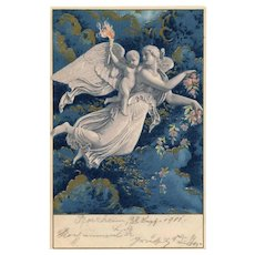 Neoclassical Bertel Thorvaldsen Mythical Scene of Dawn Gold Overlay on Blue Antique Postcard