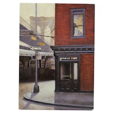 Iconic Bridge Cafe of New York by French Artist André Renoux c.1984
