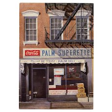 New York's Palm Superette Immortalized by André Renoux Unused Postcard