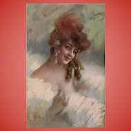 Belle Epoque Beauty with Exotic Hair Decoration and Pearls Itallian Postcard 1918