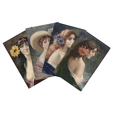 Bare-Breasted Beauties Artist Signed Antique French Postcards