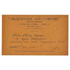 Shakespeare and Company Sylvia Beach Iconic Paris Lending Library Membership Card